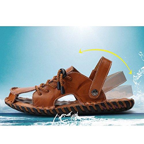 tempo in spiaggia all'aperto pelle Size e per 42 brown la libero antiscivolo il EU Sandali uomo Reddish regolabili coperto al adatti per da Brown sandali traspiranti Color sandali Reddish RqCEwPnZx