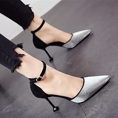 FLYRCX Europäische Mode Persönlichkeit Fortsetzung High Heels frühling Sommer Verzweigung Thin Ferse flach Flach Sandalen Damen Party Schuhe