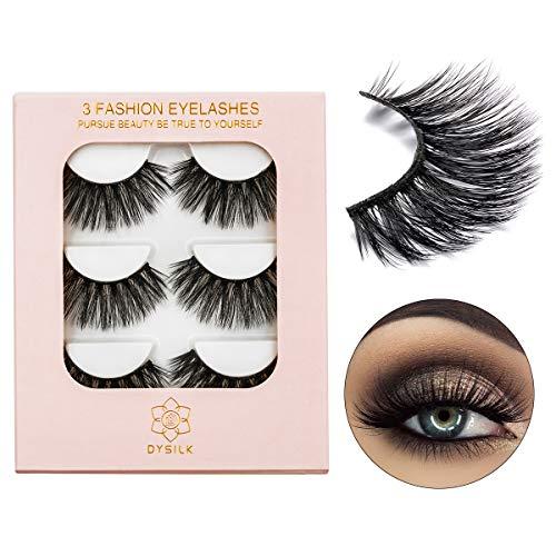 DYSILK 3D Eyelashes Handmade False Eyelashes  Extension Thick Long Reusable Soft Makeup Natural Look Fake Eyelashes Black 3 Pairs