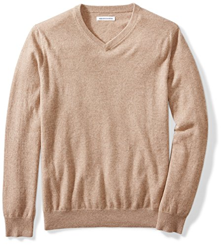Mens Lambswool Sweater (Amazon Essentials Men's 100% Cashmere V-Neck Sweater, Light Brown Heather, Small)