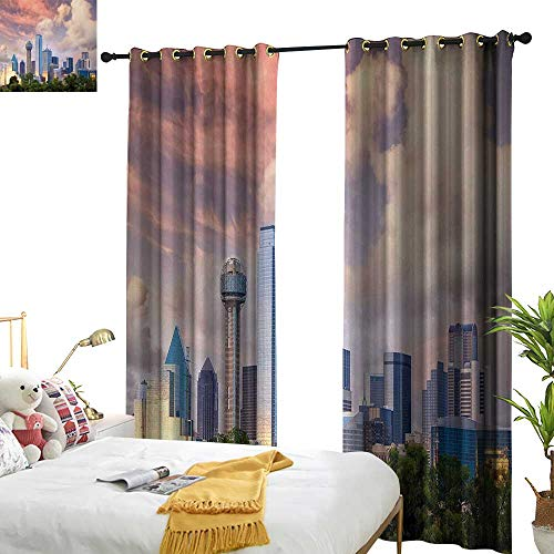Anyangeight United States,Decor Curtains by,Dallas City Skyline at Sunset Clouds Texas Highrise Skyscrapers Landmark,W120 xL108,Suitable for Bedroom Living Room Study, etc. ()