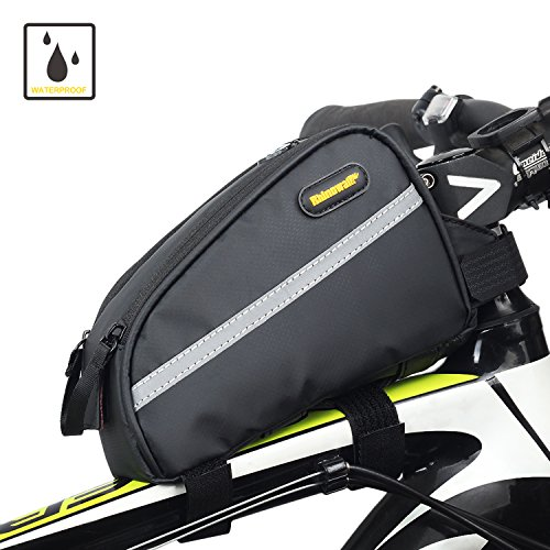 Sodee Bike Bag Top Tube Bag Front Tube Frame Bag Double Zipper Design Water Resistance Bicycle Bag Professional Cycling Accessories (Gray)