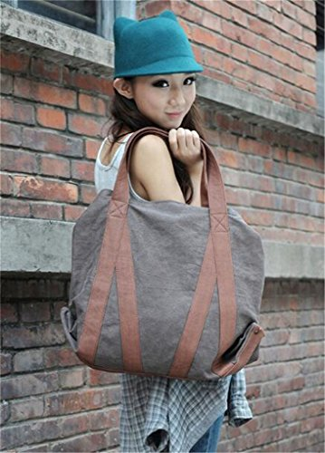 Bag Duffel Hobo Shopper Bag Canvas Shoulder Tote Vintage green Women's Naughtybags Bag xzqwpTHYW