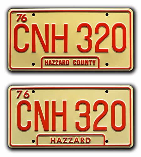 Dukes of Hazzard / General Lee Double CNH 320 *METAL STAMPED* Prop License Plate (General Lee Stickers)