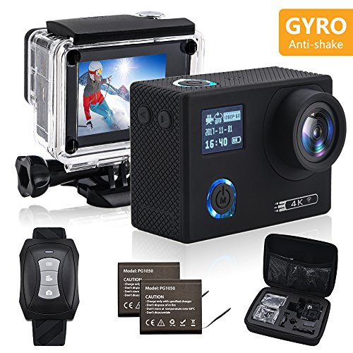SRI Sports Action Camera 4K Gyro WiFi Dual Screen Waterproof Helmet Cam with Remote Control SRI