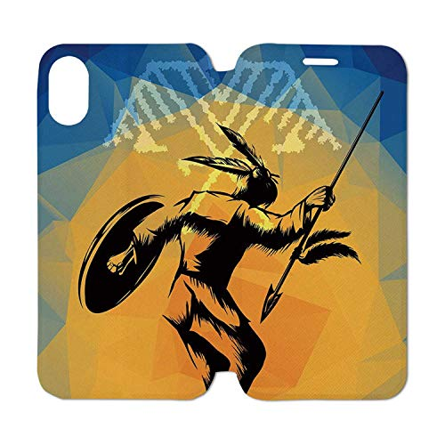 Native American Leather Phone Case,War Dance Ritual Against Ancient Totem Poly Effect Triangles Abstract Compatible with iPhone Xs