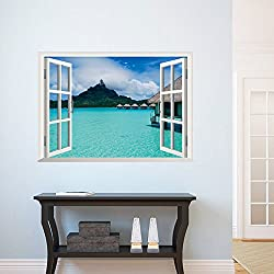 ORDERIN Christmas Gift New Creative Wall Decal 3d False Window Island Style Ocean Background Removable Mural Wall Stickers for Living Room Home Decor