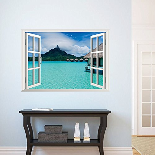 [ORDERIN Christmas Gift New Creative Wall Decal 3d False Window Island Style Ocean Background Removable Mural Wall Stickers for Living Room Home] (Animals That Start With The Letter M)