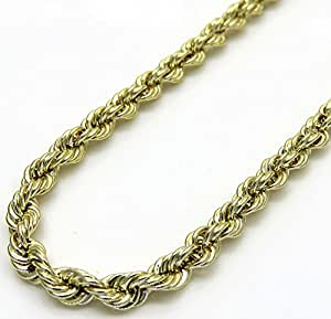 10k Yellow Gold Men's 7MM Hollow Rope Chains, Lobster Clasp, 20 to 28 Inches (26)