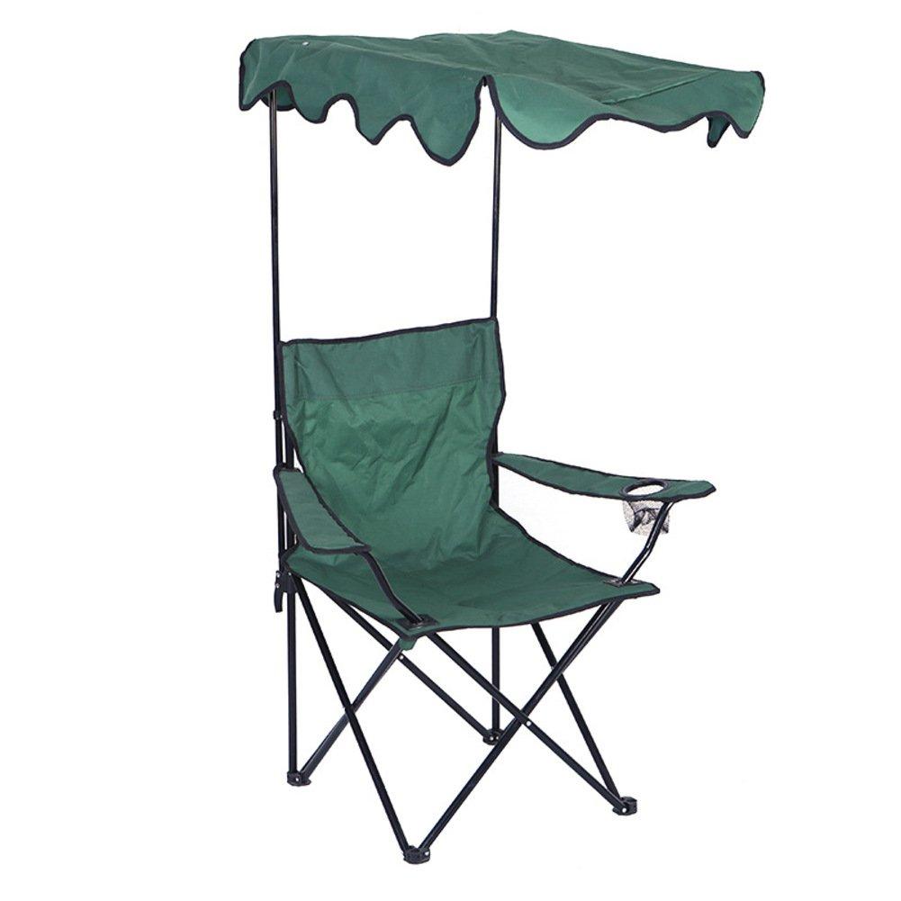 KFHSNJ 600 d Falten Campingstühle klappstuhl,Freizeit Strand Stuhl mit Sunshad Earmrest Für Outdoor Wanderer Camp Angeln-Grün
