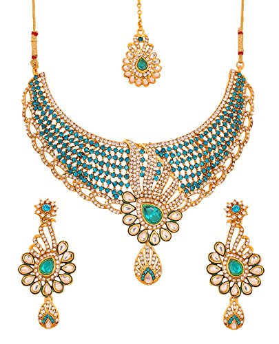 Touchstone Indian Bollywood Traditional And Modern Kundan Polki Look White And Blue Faux Turquoise Rhinestone Grand Bridal Designer Jewelry Necklace Set For Women In Gold Tone