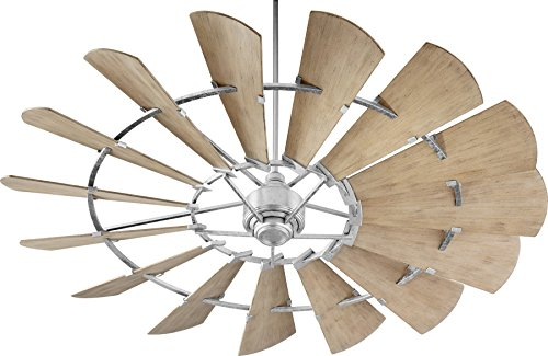 Quorum 197215-9 Windmill Ceiling Fan in Galvanized with UL Damp Weathered Oak Aluminum Blades