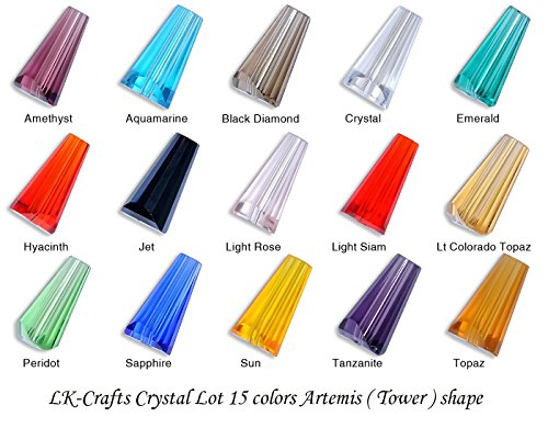 LK-CRAFTS Wholesale Lot 300pcs Artemis (Similar cut #5540) 8x12mm Crystal Beads 15 colors with storage box ()