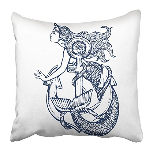 Emvency Decorative Throw Pillow Covers Cases Vintage Mermaid Anchor Tattoo Ink Sketch Stock Coloring Book Page Siren Girl Nautical Drawn 16x16 inches Pillowcases Case Cover Cushion Two Sided]()