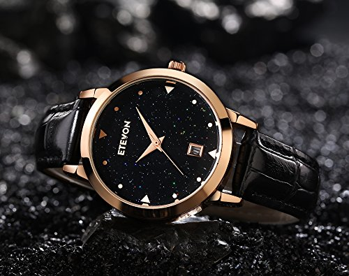 ETEVON Women Quartz Black Leather Strap Watch with Date Window Starlight Dial Rose Gold Stainless Steel Case, Casual Dress Wrist Watches for Ladies