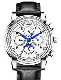 Carnival Automatic Mechanical Watch Men Moon Phase Switzerland Watches Real Leather Strap Waterproof Clock (White&Black)
