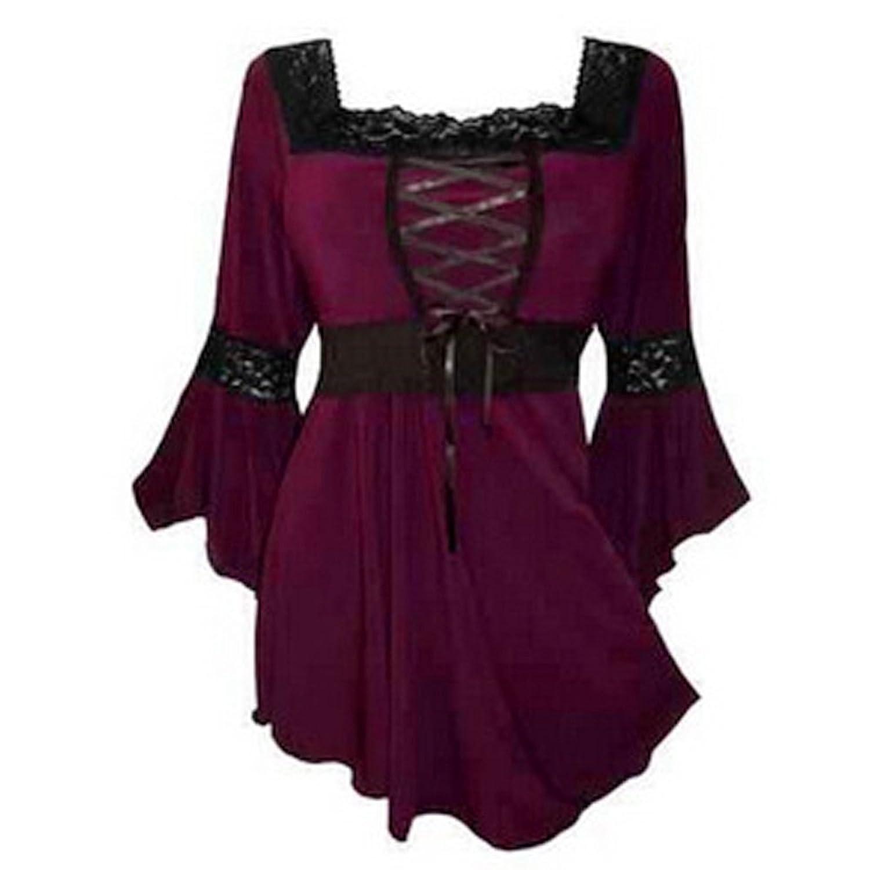 BOZEVON Falda gótica superior de la manga del corsé del vendaje del renacimiento del gótico de Victorian de las mujeres (Púrpura,XXS)