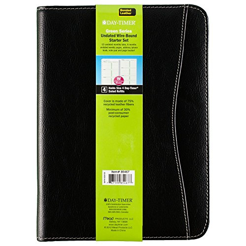 Set Starter Timer Day (Day-Timer Basque Bonded Leather Starter Set, Undated, Wirebound, Journal Size, 5.5  x 8.5 Inches, Black (85467))