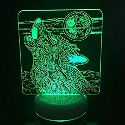 DONJON Night Light, LED Wolf Lamp with Wireless Remote Control 16 Colors for Home Room Bar Party Festival Decor Kids Bedroom(Birthday Presents, Christmas Gifts, etc.)(wolf): Home & Kitchen