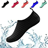 Donppa Water Shoes Women Men Yoga Barefoot Aqua Skin Socks Beach Quick Dry Swim Exercise Surf Pool (US Women 5.5-6.5/Men 4.5-5.5, Black)