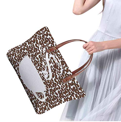 - Custom Handbag Tote Shopping Bags Coffee,Piping Hot Java Cup Silhouette on Fresh and Aromatic Arabica Beans Gourmet Choice,Brown White Printing Purse Women Small