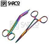 SARCO NEW PREMIUM LISTER BANDAGE SCISSORS 5.5'' + HEMOSTAT FORCEPS STRAIGHT MULTI RAINBOW COLOR STAINLESS STEEL ( SET OF 2 )