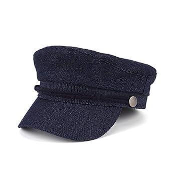 dd2c5c4a0239b GSCshoe Sombrero Elegante Vintage Gorra Azul Marino con Parte Superior Plana  Adulto de Mujer Boina de Plata Hebilla Cadena Sombrero Señora Unisex (Color  ...