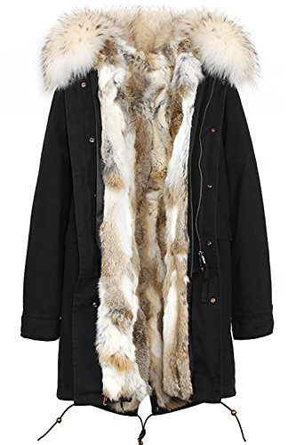 S.ROMZA Women Real Rabbit Fur Parka Upscale Long Hooded Coat Detachable Jacket Real Fur Liner (Large, - Upscale Women