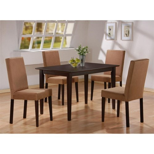 - 5pc Cappuccino Finish Dining Table & 4 Microfiber Parson Chairs Set