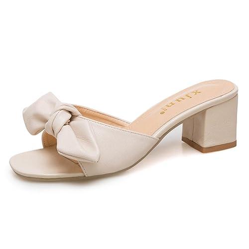 Women/'s Kitten Mid Heel Casual Slip On Sliper Open Toe Bowknot Sandals New Shoes