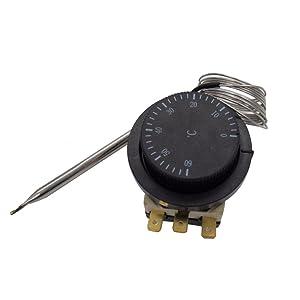 Taiss / 1NC 1NO 250V/380V 16A 0-60℃ Temperature Control Switch Capillary Thermostat Temperature Controlled Switch Controller Sensor 0-60C