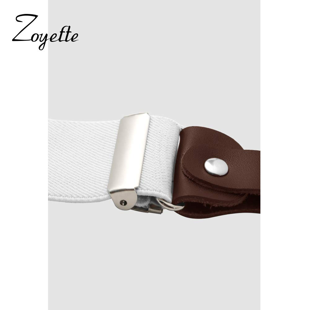 Zoyette Bretelle Uomo Bretelle per uomo 4 fibbie X dietro a righe Uomo Bretelle durevoli Bretelle regolabili elastiche Clip di metallo forte