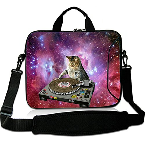 17 Inches Laptop Shoulder Bag Briefcase Cats in Space Waterproof Neoprene Laptop Carrying Bag Sleeve for 17
