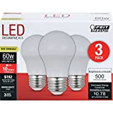 Feit Electric A1560/10KLED/3 60W Equivalent Frost Non-Dimmable LED Light Bulb (3 Pack), Warm White