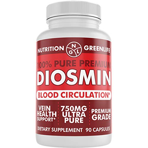 100% Pure DIOSMIN Pure Ingredient no Mixes or Additives for Blood Circulation, Leg Veins Health, Purity Guarantee Best Quality 90 Capsules (Best Vitamins For Poor Blood Circulation)