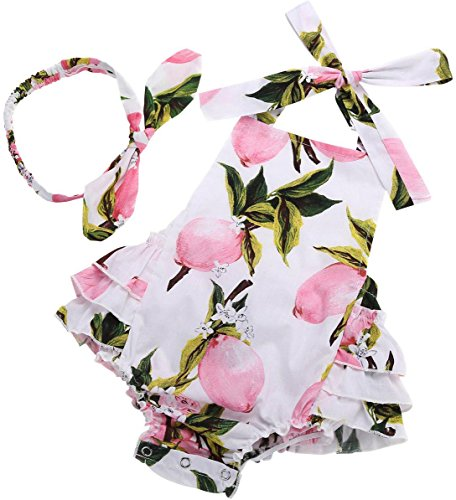 Fubin Baby Girl's Floral Print Ruffles Romper Summer Clothes With Headband,Pink Lemon,0-6 months