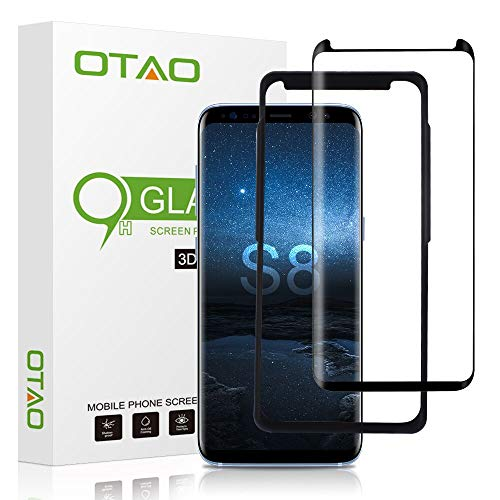 OTAO Galaxy S8 Tempered Glass Screen Protector [Update Version], Easy Installation [Case-friendly] Samsung S8 Tempered Glass Screen Protector with Installation Tray For Galaxy S8