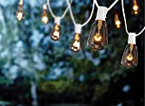 Goothy 10Ft Outdoor Patio String Lights,ST38 Edison Style Bulb String Lights Garden/Backyard Party/Wedding Outdoor String Lights(Plus 1 Extra Bulbs)-White