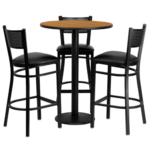 Flash Furniture 30'' Round Natural Laminate Table Set with 3 Grid Back Metal Barstools - Black Vinyl Seat (Furniture Breakfast Sets Bar)