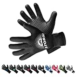 BPS 3mm Neoprene Scuba Gloves with Anti Slip Palm - Full Finger Gloves for Wetsuit, Spearfishing, Paddleboarding, and Other Water Activities - for Kids and Adults (Black/White, X-Small)