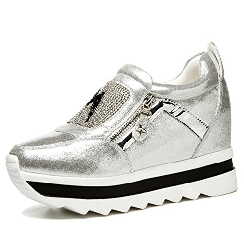 PerfectAZ On Sales Women Fashion Travel Zipper Ankle Increased Within Drill Decorated Platform Sneaker Shoes(8 B(M) US, Silver)