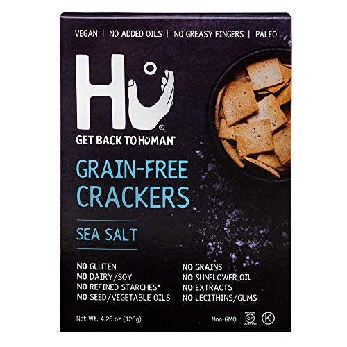 Hu Paleo Vegan Crackers, Sea Salt 2 Pack, Keto Friendly, Gluten Free, Grain Free, Low Carb, No Added Oils, No Refined Starches