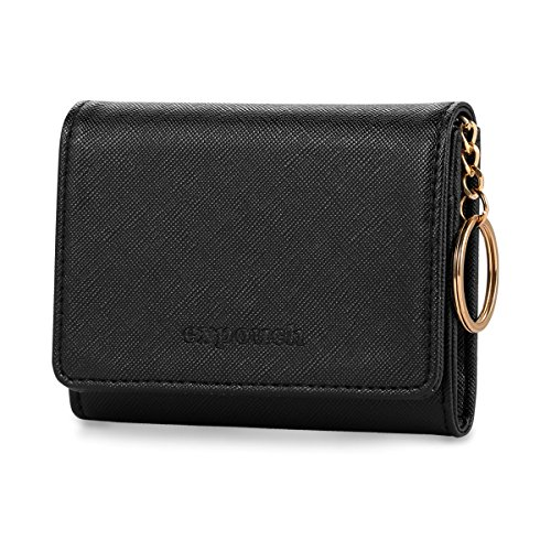 Black Leather Coin Purse Key Chain Credit Card Wallet Card Holder with Key Ring and ID Window Small Size (Key Wallets Womens Ring)