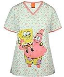 Nickelodeon Ladies Cartoon Pediatric Scrub Top (Medium, Patrick Hug)