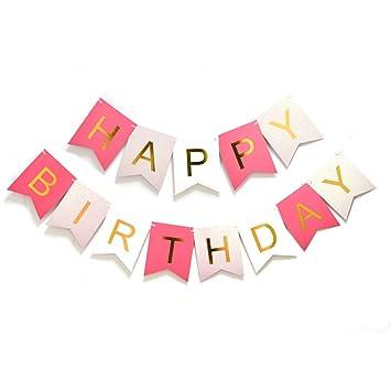 Amazon.com: Pancarta de feliz cumpleaños fillixar colorido ...