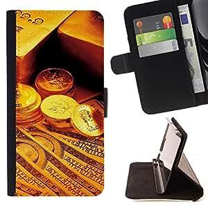 Momo Phone Case / Flip Funda de Cuero Case Cover - Gold Bar Monedas Dinero;;;;;;;; - Sony Xperia Z5 5.2 Inch (Not for Z5 Premium 5.5 Inch)