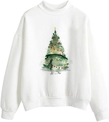Damas Camiseta De Manga Larga con Estampado De Sudadera Vintage Navidad con Estampado 3D Camisetas De Manga Larga Blusa Suéter Camisa Elegante Falda De Cuello De Fiesta Camisetas De Fiesta: Amazon.es: Ropa