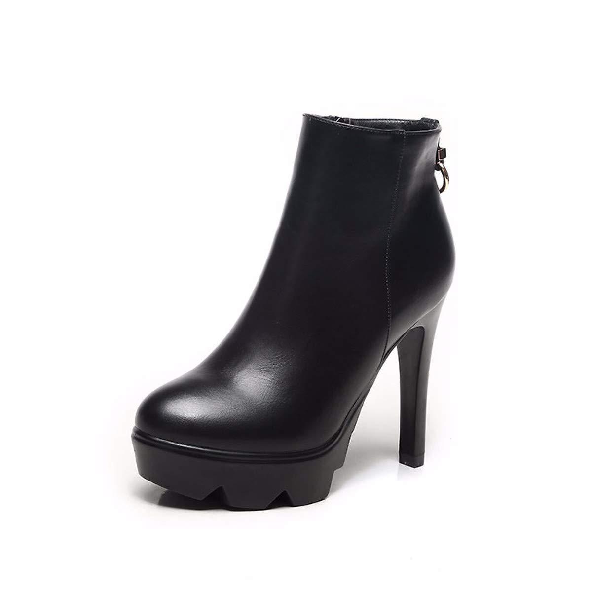 KPHY Damenschuhe/Im Winter Ist Es Höchste 11Cm, Mode, Wasserdichte Plattform, Gut Bei Fuß, Wild, Samt Und Leder, Seite Reißverschluss, Kurze Stiefel.
