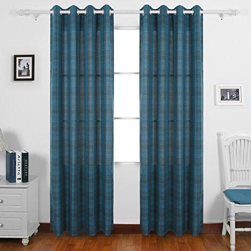 Deconovo Window Plaid Curtains Grommet Check Panels Linen Grid Curtains for Kids Bedroom 52x84 Inch 2 Panels Blue