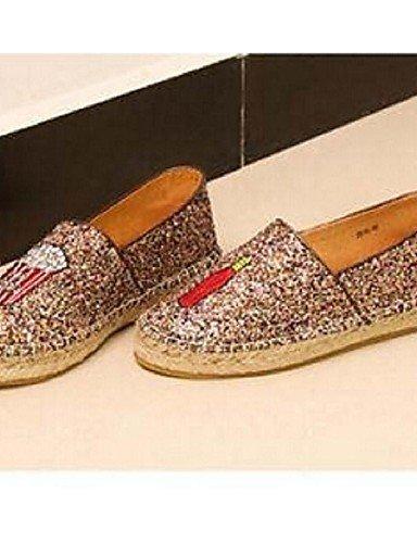 Mujer Tacón Zapatos Uk6 Cn39 Golden Casual Mocasines Eu39 us8 Oro Plano Tejido Zq Comfort De qwEUHCWqdt